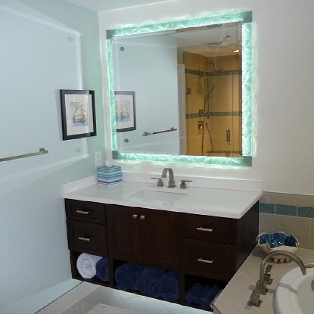 Clearwater Beach Florida Glass Tile Mirror Border
