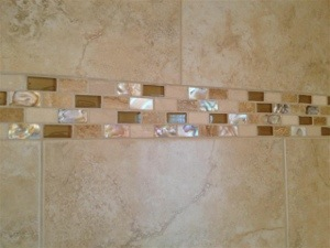 Riverview Florida Tile Shower With Mosaic Accent Band