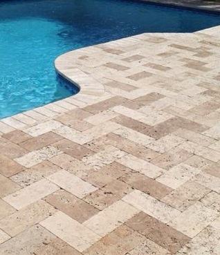 Seminole Florida 6 215 12 Herringbone Travertine Paver Pool