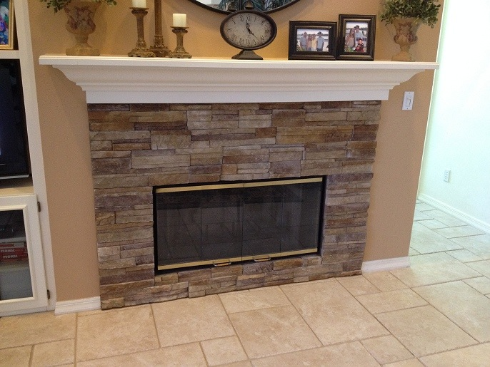 Palm Harbor Florida Stacked Stone Fireplace Ceramictec