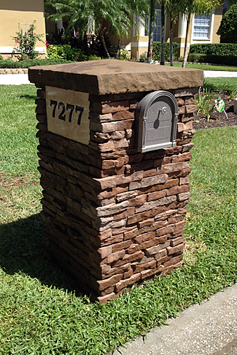 Stacked Stone Mailbox Installation Seminole Tampa Florida