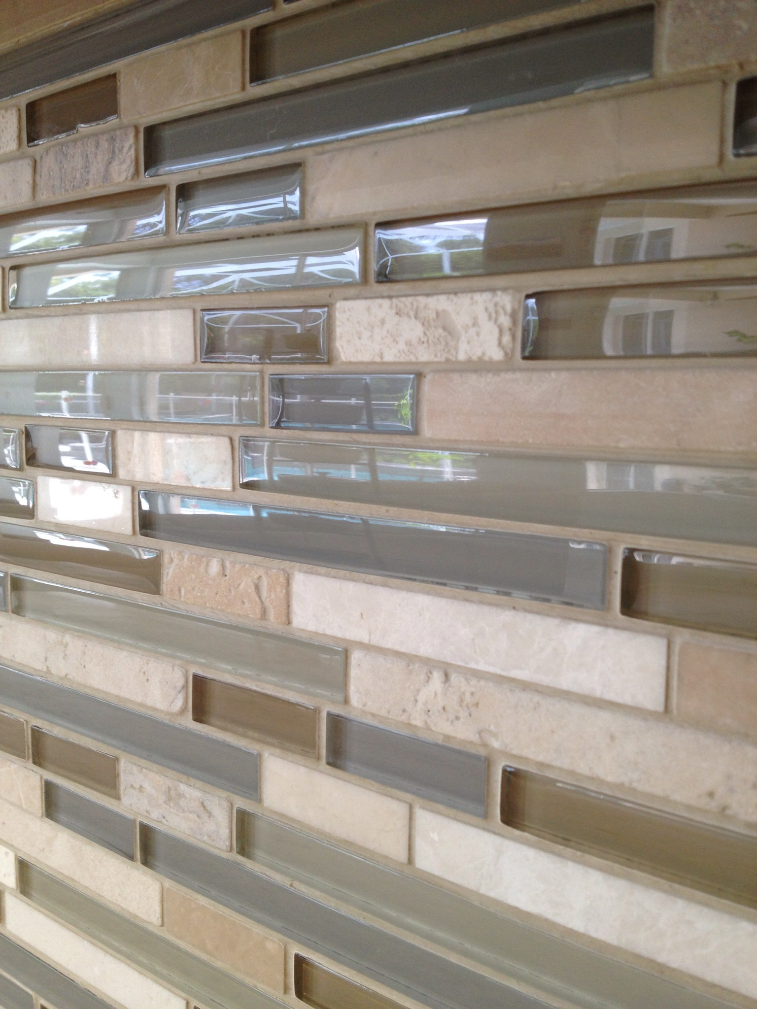 Glass Amp Travertine Tile Kitchen Backsplash Bradenton