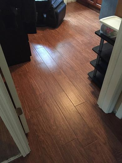 Shaw Petrified Hickory Wood Look Plank Tile Installation