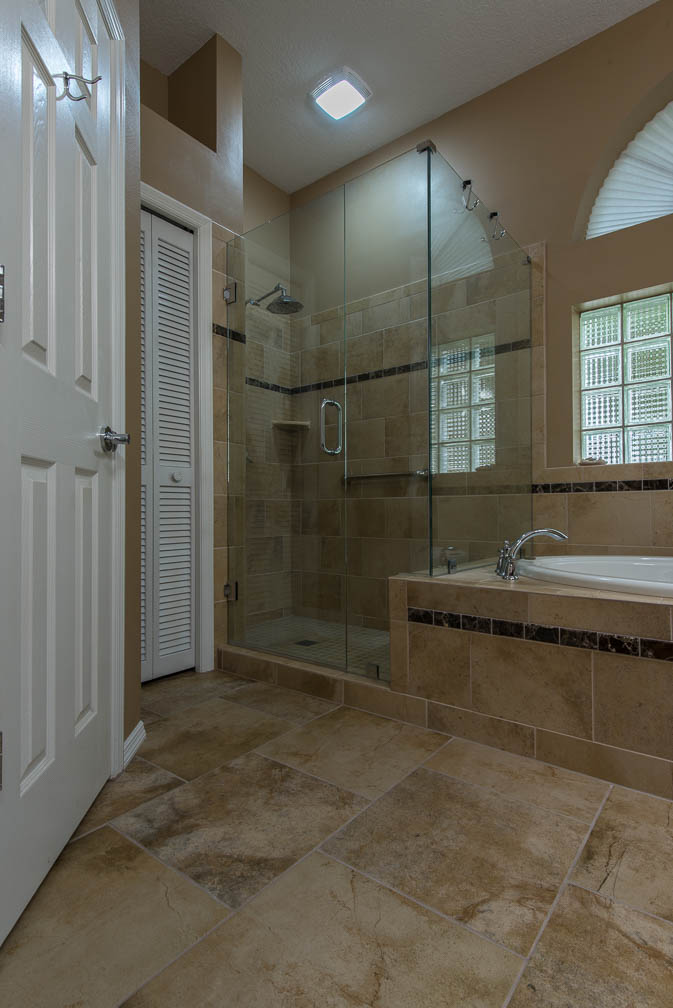 New Tampa Florida Master Bathroom Shower Tile Renovation