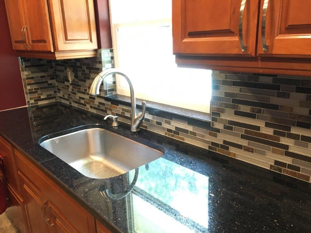 Brandon Florida Glass And Slate Tile Backsplash