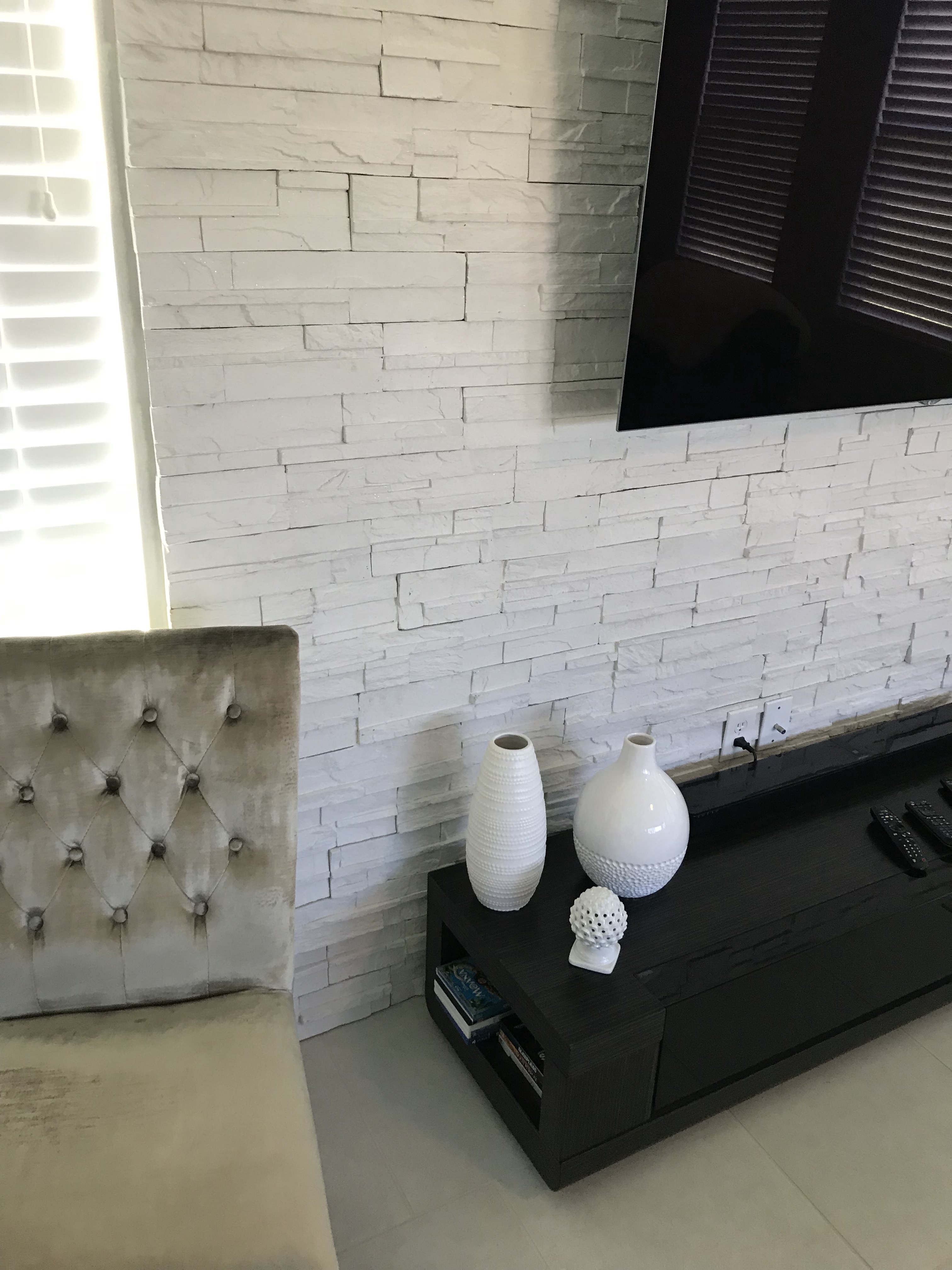 Tv Accent Stacked Stone Wall Wesley Chapel Florida